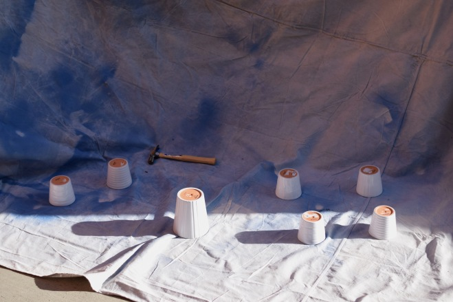 Spray Painting All the Pots