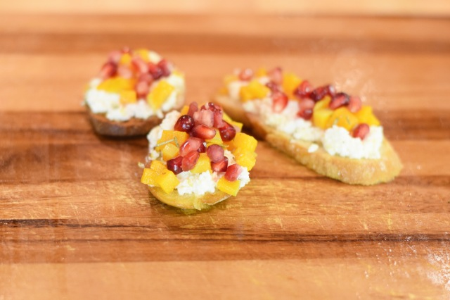 Pomegranate, Butternut Squash, Lemon Ricotta Crostini | Land of Laurel