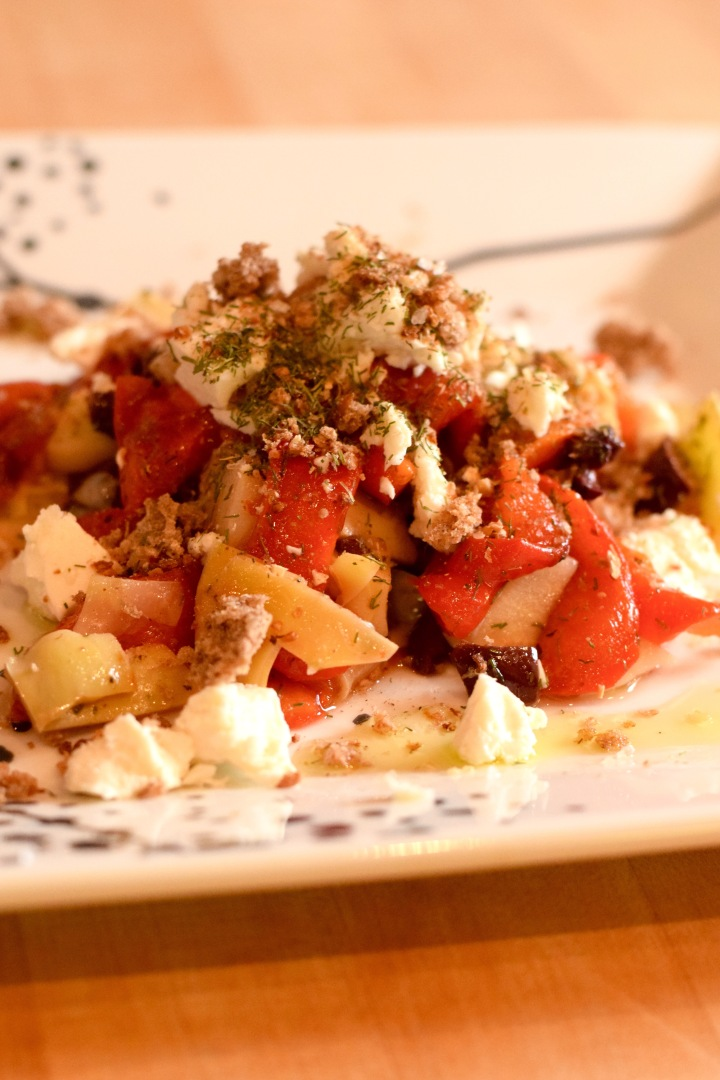 Slow Roasted Bell Pepper Salad with Feta Cheese and Bread Crumbs | Land of Laurel