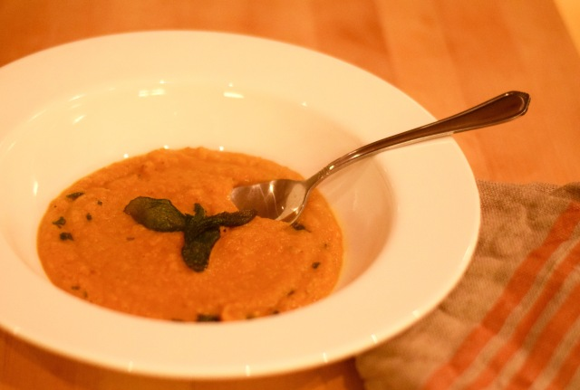 Delicious Butternut Squash Soup with Fried Sage | Land of Laurel