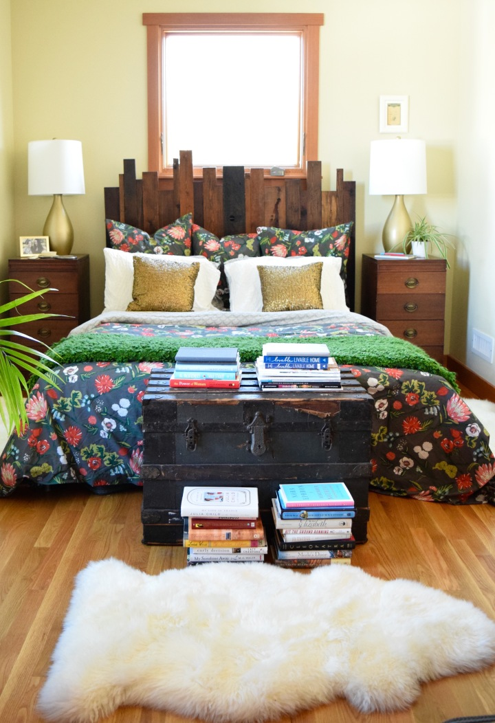Sheepskin and Trunk in Bedroom | Land of Laurel