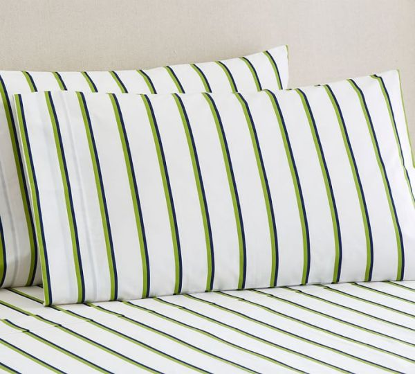 Pottery Barn Loomis Stripe Sheets | Land of Laurel