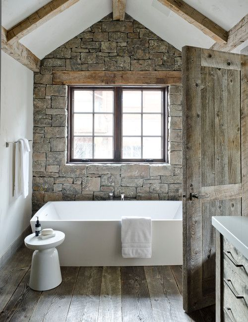 Stone Wall Behind Tub Bathroom | Land of Laurel