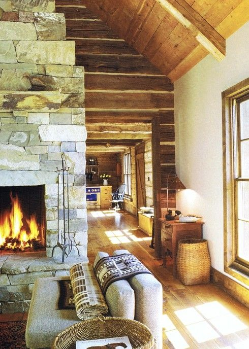 Stone Fireplace in Cabin | Land of Laurel