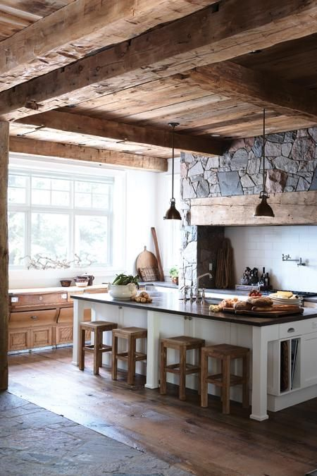 Stone with Rustic Wood in the Kitchen | Land of Laurel