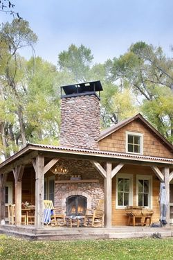Cabin with Porch Fireplace | Land of Laurel