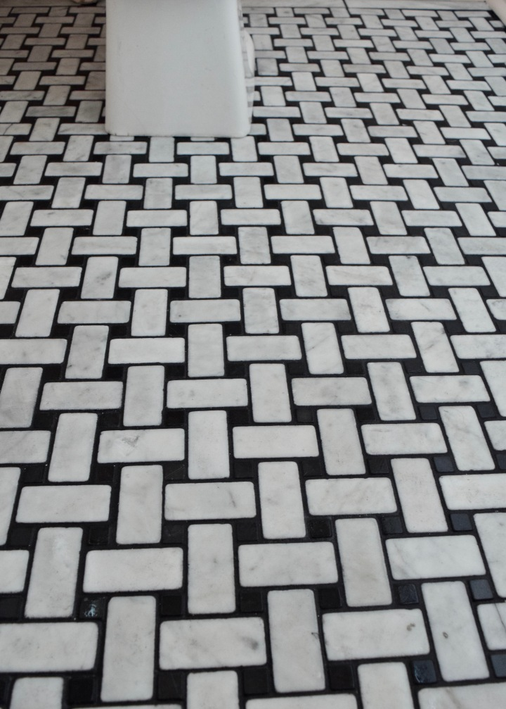 One Room Challenge: Week Three – Installing Marble Basketweave Tile